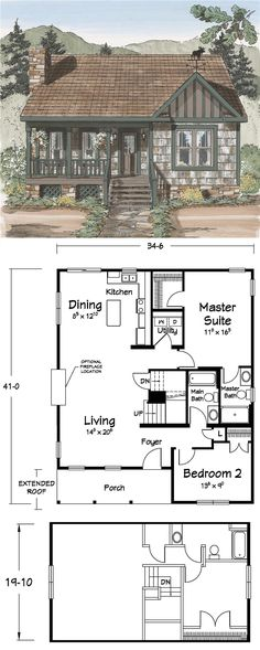A Cozy #Cabin....add a full basement and a carport on the left, make all the rooms a little larger, this could be nice