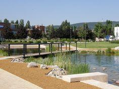 Graphisoft-Park-by-Garten-Studio-09-lakeside-limestone « Landscape Architecture Works | Landezine