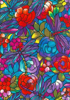 Dragonfly Clear Cut Red Stained Glass Fabric by lucyintheskyquilts, $10.00