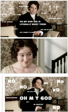 Pride & Prejudice: Darcy tries to be cool.