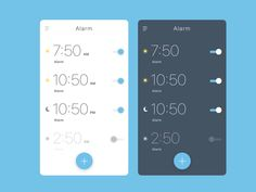 These are 2 concepts of an alarm app. One is a light-theme(used in the morning) and the other is the dark theme (used in the night).   If you like this, please leave a like. It would be much apprec...