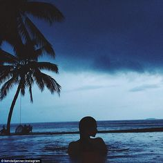 Paradise: Earlier in the day she shared this majestic snap from her holiday featuring her ...