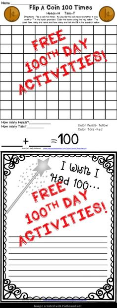 FREEBIE for the 100th Day of School!  Check out the entire 100th Day of School Pack filled with Science, Social Studies, Writing and Math activities!