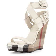 Shop All Women's Designer Shoes at Neiman Marcus - Burberry Goldfinch Check-Wedge Sandal, White White High Heel Sandals, Wedge Sandals, Wedge Shoes, Shoe Wedges, Shoes Sandals, Fly Shoes, High Heels, Cute Shoes, Me Too Shoes