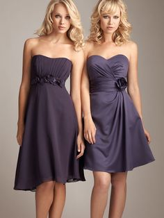 Sweetheart satin bridesmaid dress with empire waist