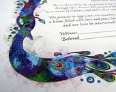 cool peacock and pomegranate ketubah