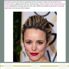 Major Hair Moments You Probably Missed at the Golden Globes Celebrity Hairstyles, Bun Hairstyles, Wedding Hairstyles, Rachel Mcadams Hair, Bridal Hair Buns, The Beauty Department, Hair Photo, Dry Shampoo, Golden Globes