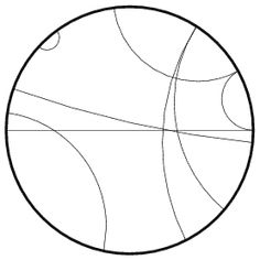 The Poincaré disk is a model for hyperbolic geometry in which a line is represented as an arc of a circle whose ends are perpendicular to the disk's boundary (and diameters are also permitted). Two arcs which do not meet correspond to parallel rays, arcs which meet orthogonally correspond to perpendicular lines, and arcs which meet on the boundary are a pair of limits rays.