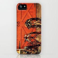 Phone Case Three Horse Saddles Orange Barn Door by NatureCity, $46.00