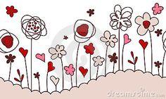 Seamless horizontal border with stylized flowers by Annatv81, via Dreamstime
