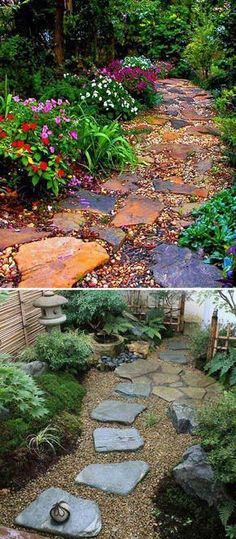 a colorful rocks garden path with large flagstones. Lay a Stepping Stones and Path Combo to Update Your LandscapeMake a colorful rocks garden path with large flagstones. Lay a Stepping Stones and Path Combo to Update Your Landscape Stone Garden Paths, Garden Stepping Stones, Rocks Garden, Gardening With Rocks, Water Garden, Garden Plants, Landscaping With Rocks, Backyard Landscaping, Landscaping Ideas