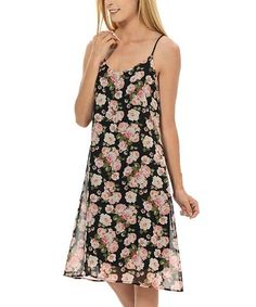 $10.29 marked down from $49! Black & Light Pink Floral Spaghetti Strap A-Line Dress #floral #dress #zulily #zulilyfinds