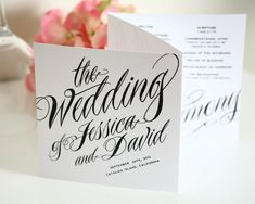 Ravishing Script Tri Fold Wedding Programs Sample in Black and White on Pearl Shimmer Luxury Cardstock. $3.50, via Etsy.