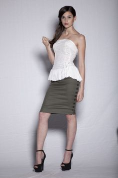 olive woven cotton double sided buttoned skirt Woven Cotton, Buttons, Sewing, Formal Dresses, Lady, Natural, Skirts, Clothes, Women