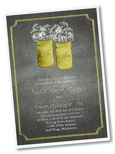 Chalkboard Rustic Layered Wedding Invitation