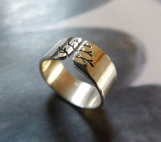 Silver ring autumn tree Sterling silver shiny wide band by Mirma