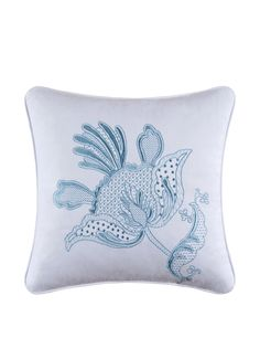Eliza Lace Embroidered Flower Pillow, Blue/White at MYHABIT