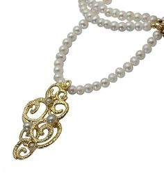 Gold Necklace with Pearls and a 14K gold plated by cityofdavid, $138.00