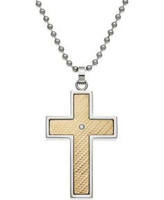 Gold Chain Men Crosses Men's Diamond Accent Cross Pendant in Gold and Stainless Steel -