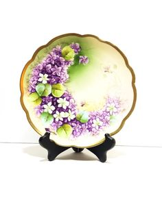 Antique Hand Painted Flower Plate, Purple & White Lilacs, Vienna Bone China…