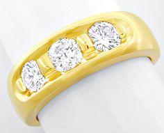 Foto 2, Brillant-Bandring 0.72 extramassiv Gelbgold Luxus! Neu!, S8639