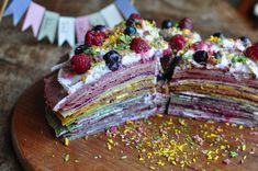Rainbow pancake cake made with chestnut flour crepes. Dairy free, refined sugar free