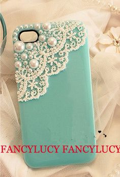 iphone 5 case, iphone 4 case, lace iphone 5 case, white lace iphone 4 case pearl trim Hard Case,iphone 5 skin,cute iphone 4s case cover. $9.98, via Etsy.