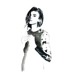 Au Revoir Les Filles AW15 #rubyjeanwilson #art #fashion #illustration #black #white #magazine #editorial #girl #drawing #lace #dress #hair #jewelry