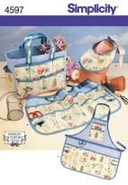 Simplicity Gardening Accessories (Tote Bag with Outer Pockets, Half Apron, Full Apron, Sun Visor) Pattern 4597