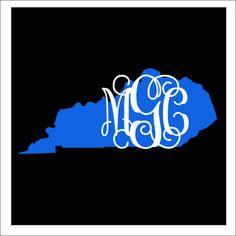 Kentucky Monogram Decal Car Decal Vinyl Car by CustomVinylbyBridge