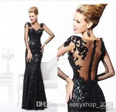 Sexy Long Sleeve Black Mermaid Evening Dress For Women Formal Gown with Backless And Lace Details, $140.65 | DHgate.com
