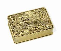 A REGENCY SILVER-GILT HUNTING SNUFF-BOX MAKER'S MARK INDISTINCT, LONDON, 1819
