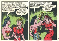 """Does you hair come off?""  Sensation Comics #23, November 1943.  Art by HG Peter."