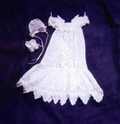 Crochet Christening Gown Pattern - Beaded Diamond Delight