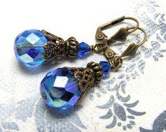 """Ohrhänger - """"Azuro"""" Ohrringe im Jugendstil - ein Designerstück von Gentle-Breeze…"""