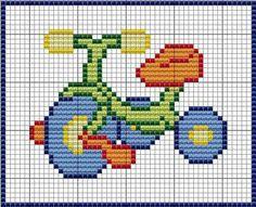Carrinho Simple Cross Stitch, Cross Stitch For Kids, Cross Stitch Baby, C2c Crochet, Tapestry Crochet, Crochet Baby, Cross Stitch Designs, Cross Stitch Patterns, Cross Stitching