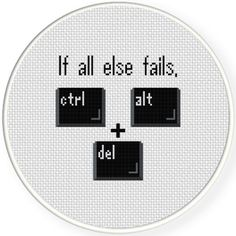 Embroidery Cross Stitches Charts Club Members Only: Ctrl Alt Delete Cross Stitch Pattern - Ctrl Alt Delete Cross Stitch Pattern Cross Stitch Bookmarks, Counted Cross Stitch Patterns, Cross Stitch Charts, Cross Stitch Designs, Cross Stitch Embroidery, Embroidery Patterns, Cross Stitch Tattoo, Hardanger Embroidery, Loom Patterns