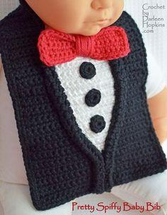 Crochet Tuxedo Baby Bib Pattern.