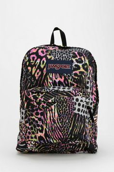 Jansport Neon Animal Print Backpack #urbanoutfitters