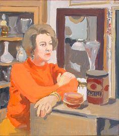 """Inez MacWhinnie,"" Fairfield Porter, 1968, oil on Masonite, 20 x 18"", Vered Gallery."