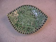 Ceramics, Pottery, Leaf Shaped Soap Dish, Spoonrest, Trinket Tray or Jewelry Holder in Sea Green by Dana Morton. $24.00, via Etsy.