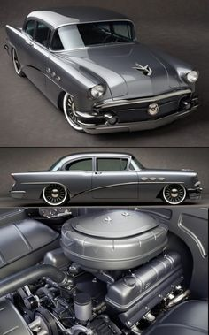"Very clean custom grey 1956 Buick powered by a 413ci engine with twin turbo's backed by a 4L80E transmission, and a C6 Corvette front suspension. The rear suspension is a 4 link system, that has a Ford 9"" inch one as well. The Buick also has Ride Tech 12"" inch coil overs, with a set of custom billet 19"" and 20"" inch wheels."