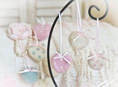 Cute Heart Ornaments Romantic Style by thefeltedcottage on Etsy, $6.00