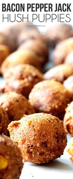 Hush Puppies with a crispy, golden outside and soft, cornbread inside infused with bacon, pepper Jack cheese dunked in the most tantalizing sweet and tangy Sweet Chili Dijon Sauce! Easy To Make Appetizers, Easiest Appetizers, Appetizer Recipes, Tapas, Hush Puppies Recipe, Carlsbad Cravings, Good Food, Yummy Food, Keto