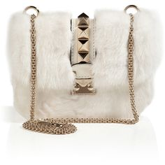 VALENTINO Leather/Mink Studded Shoulder Bag (135,750 THB) found on Polyvore