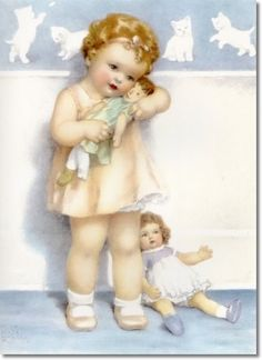 Bessie Pease Gutmann - Josie was Just Given a Brand New Doll in a Taffeta Dress but She Still Loves Her Raggedy Old Doll the Best by Bessie Pease Gutmann | Painting****reminds me of a photo of mom as a little girl with her doll****