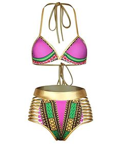 f4e367e38f99d Nine Town Women Halter Neck High Waist Metallic Swimsuit African Print  Bikini Set Swimwear   Continue