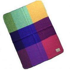 Babydeken 100% wol met alle kleuren van de regenboog