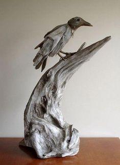 Driftwood-sculptures by Richel Vincent 9 Driftwood Sculpture, Driftwood Art, Bronze Sculpture, Driftwood Projects, Modern Pictures, Wood Creations, Nature Crafts, Beach Art, Bird Art