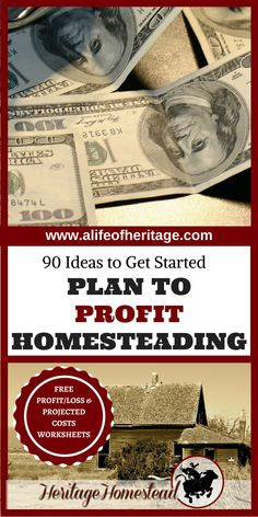 Homesteading | Making money on a Homestead | Earn an income homesteading | Homesteading income | Money making homestead | FREE PROFIT/LOSS & PROJECTED COSTS WORKSHEETS. What does it take to profit homesteading? Over 90 ideas to get you started!